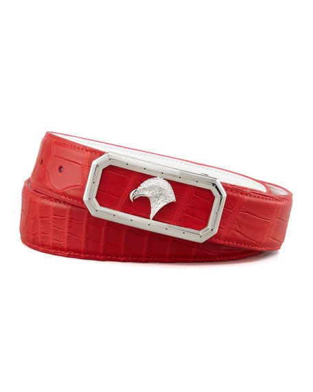 Eagle Buckle Crocodile Belt, Red