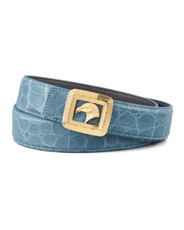 Stefano Ricci Eagle Buckle Crocodile Belt, Teal