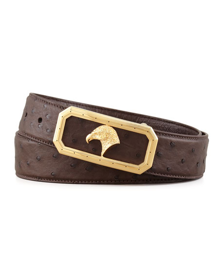 Eagle Head Ostrich Belt with Hexagonal Buckle, Brown