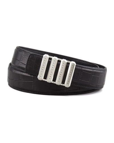 Stefano Ricci Crocodile Belt, Black