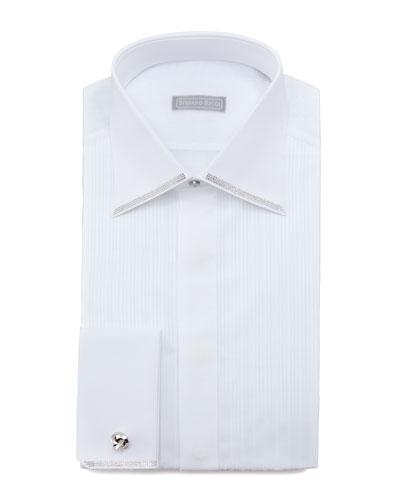 Stefano Ricci Crystal-Trim Tuxedo Shirt