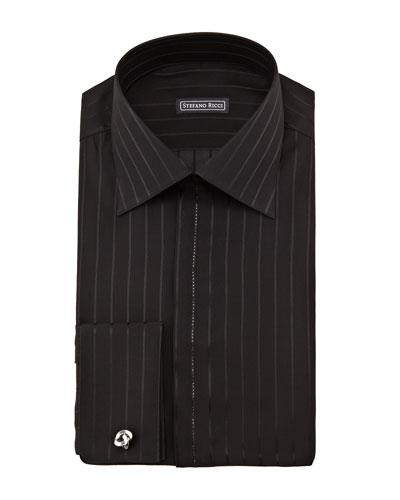 Stefano Ricci Crystal-Trim Silk Tuxedo Shirt