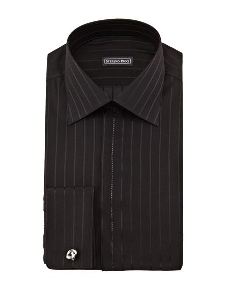 Crystal-Trim Silk Tuxedo Shirt