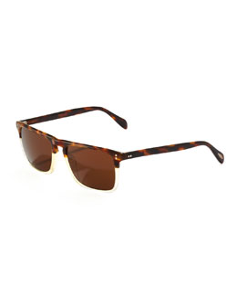 Oliver Peoples Bernardo Polarized Sunglasses, Cascara Tortoise/Buff