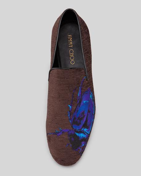 Sloane Men's Scarab-Embroidered Smoking Slipper
