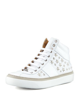Jimmy Choo Belgravi Star-Studded Hi-Top Sneaker, White