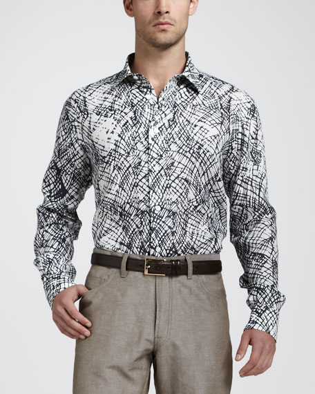 Abstract-Print Linen Shirt
