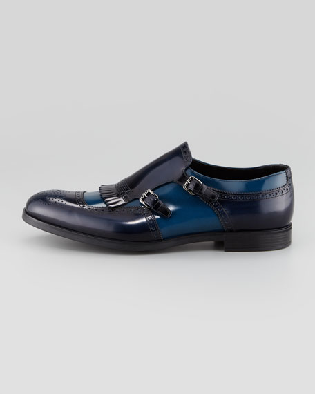 Double Monk-Strap Kiltie Loafer, Blue/Navy