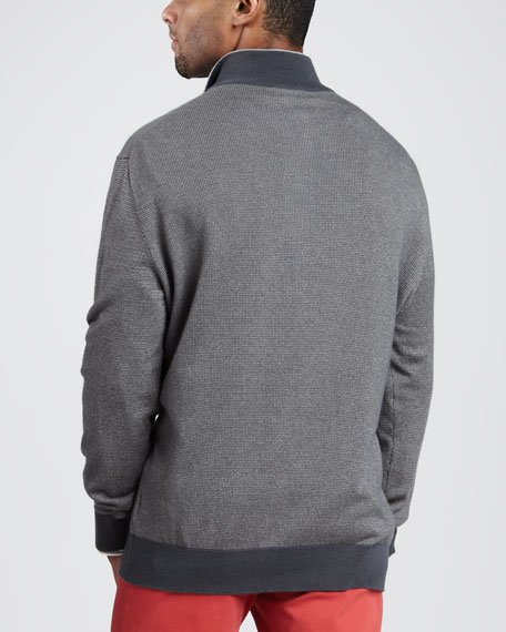 Quarter-Zip Birdseye Sweater, Graphite
