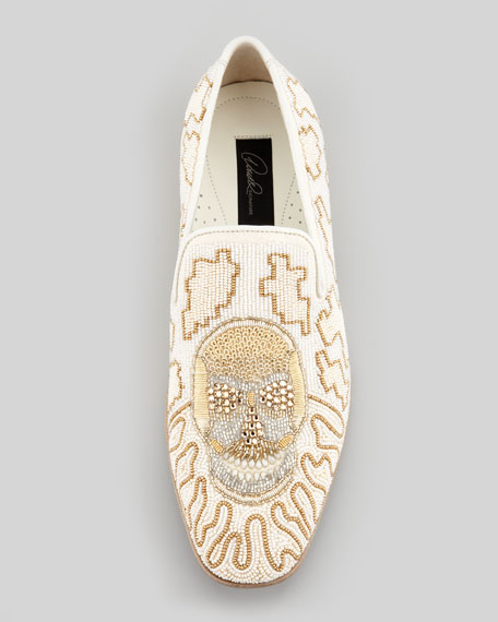 Pascow Beaded Skull Loafer, White
