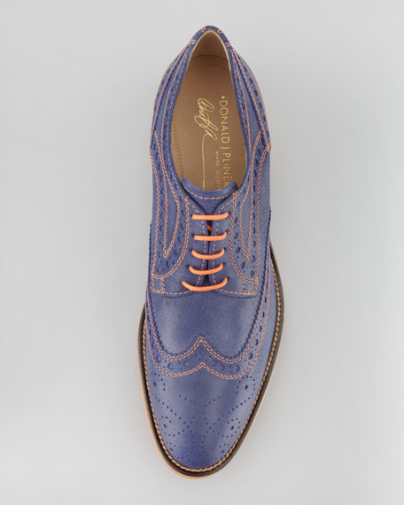 Emeri Leather Wing-Tip, Navy