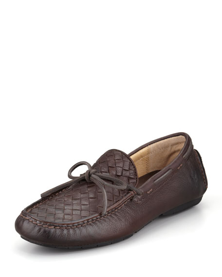 West Woven Leather Driver, Dark Brown