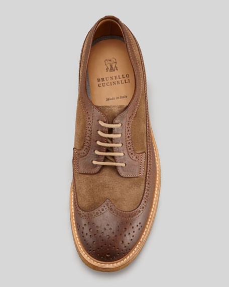 Suede and Leather Wing-Tip, Brown