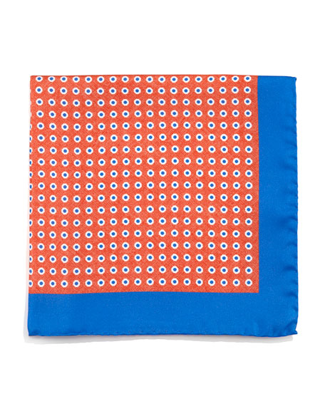 Circle Neat Silk Pocket Square, Orange