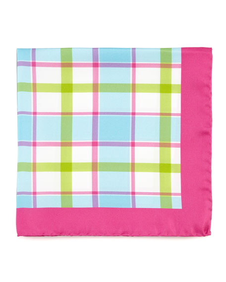 Exploded Plaid Silk Pocket Square, Green