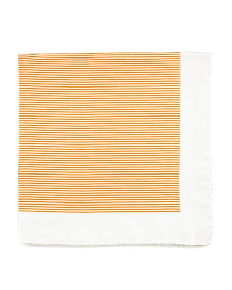 Mini-Striped Silk Pocket Square, Orange