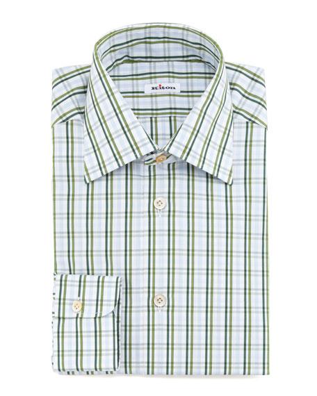 Large-Check Dress Shirt, Green