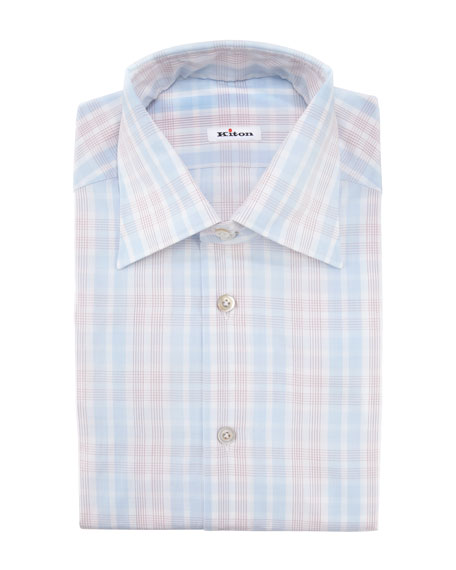 Exploded Check Dress Shirt, Light Blue