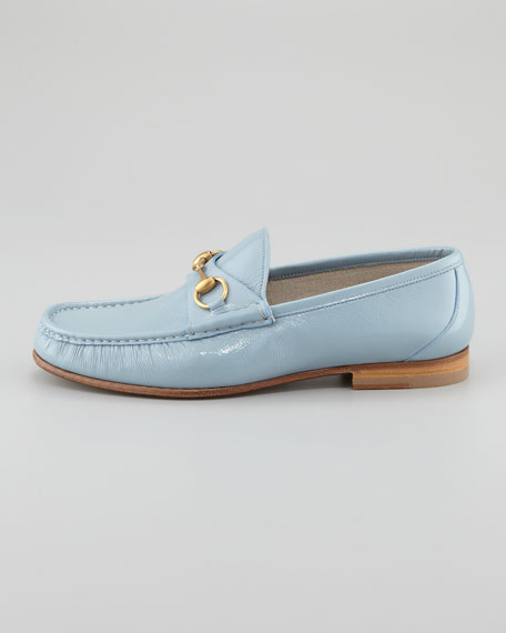 Roos Bit Patent Leather Loafer, Light Blue
