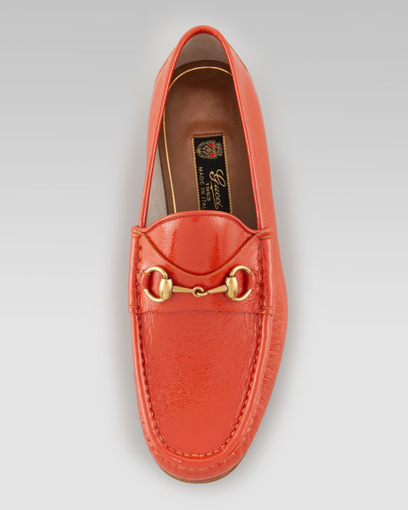 Roos Bit Patent Leather Loafer, Pumpkin Orange