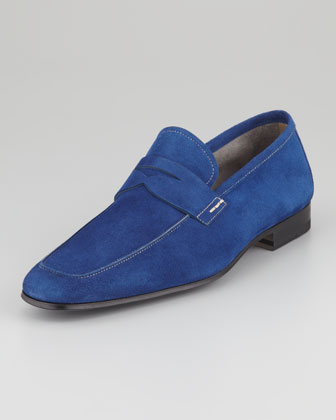 Suede Penny Loafer, Royal Blue