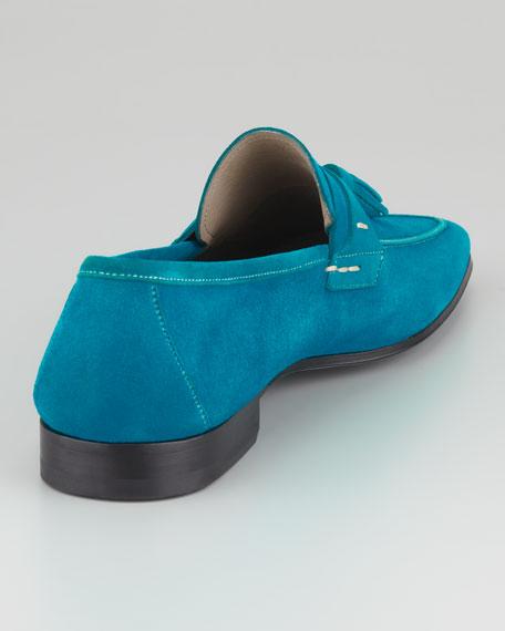 Suede Tassel Loafer, Aqua