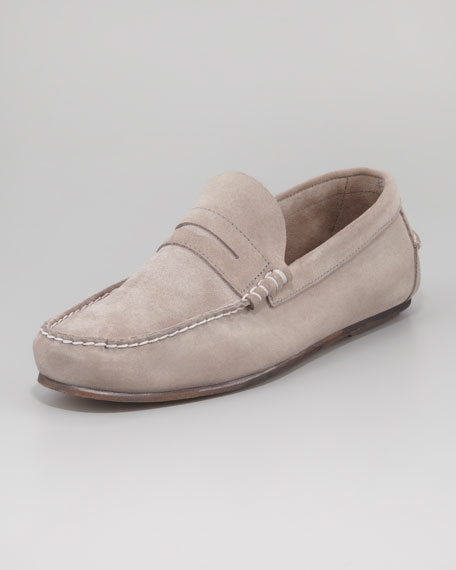 Suede Penny Loafer, Mouse Gray