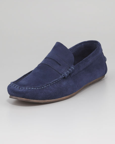 Suede Penny Loafer, Navy