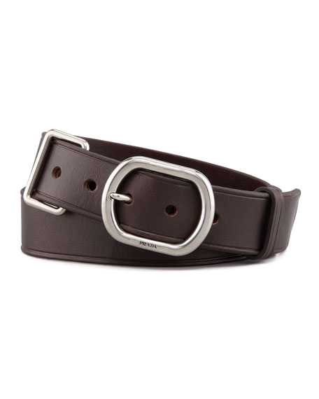 Metal Keeper Leather Belt