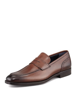 Ermenegildo Zegna Brogue Detailed Penny Loafer, Brown