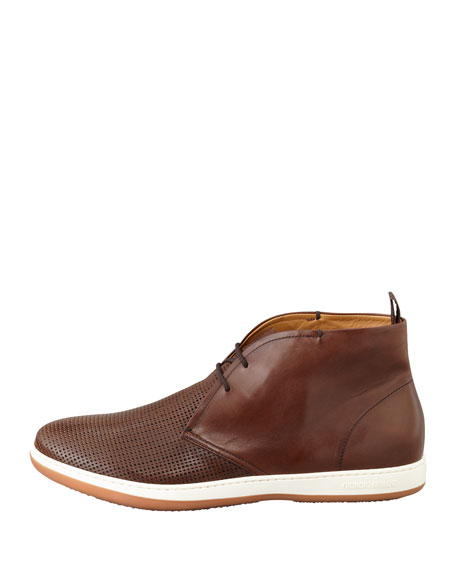 Perforated Derby Desert Boot, Brown