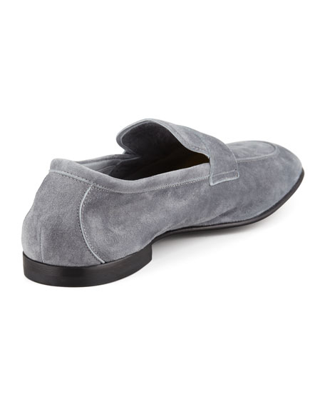 Deconstructed Suede Penny Loafer, Gray