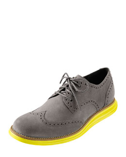 Cole Haan LunarGrand Wing-Tip, Gray/Yellow