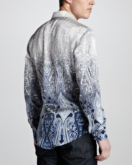 Paisley Ombre Silk Shirt, White/Blue