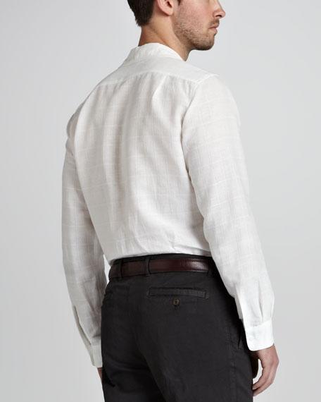 Textured Plaid Linen Shirt