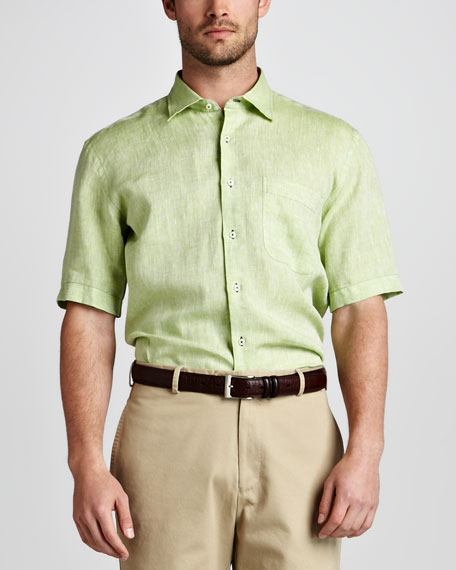 Amalfi Linen Short-Sleeve Shirt, Cucumber
