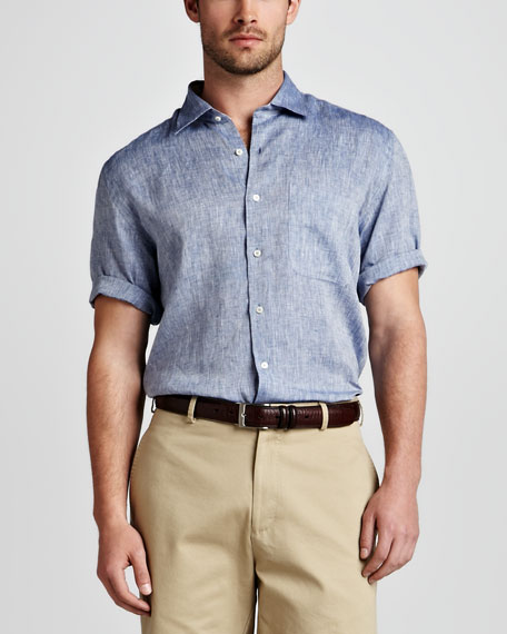 Amalfi Linen Short-Sleeve Shirt, Patriot Navy