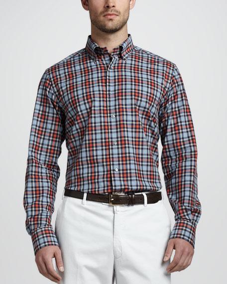 Plaid Button-Down Shirt, Navy/Red/Blue/Gray