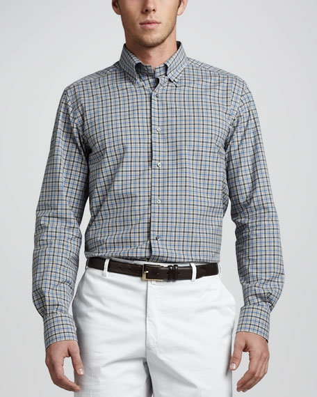 Check Button-Down Shirt, Oatmeal/Blue/Gray