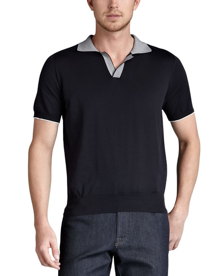 Stripe-Collar Polo