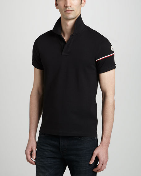 Flag-Sleeve Polo, Black