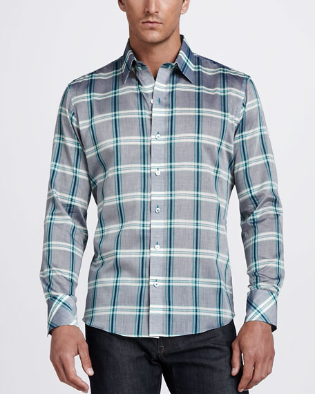 Plaid Sport Shirt, Gray/Green