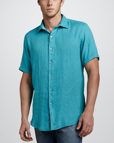 Double-Tap Linen Short-Sleeve Shirt