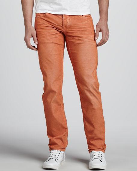 Geno Slim Corduroy Pants, Orange