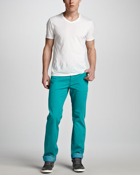 Standard Five-Pocket Twill Pants, Turquoise