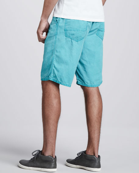 Cowboy Canvas Shorts, Green Ice Wash