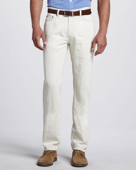 Linen Five-Pocket Pants, Off White