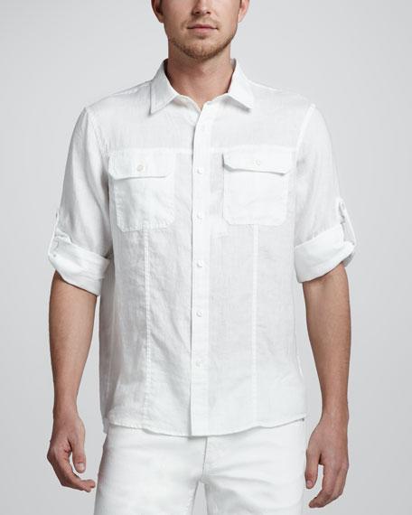 Roll-Tab Two-Pocket Linen Shirtb262x