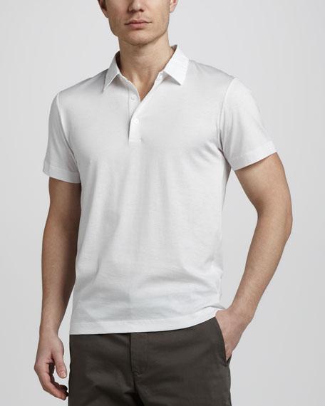 Abras Woven-Collar Polo, White