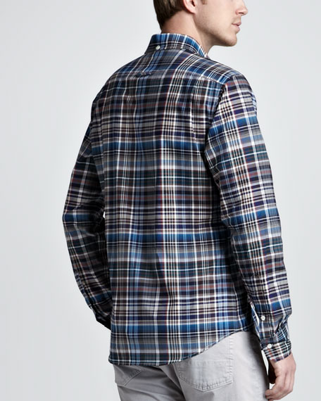 Bright Plaid Sport Shirt, Navy